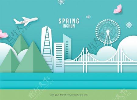 韩式春季卡通立体花朵建筑海报模板设计
