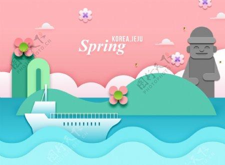 创意韩式春天主题卡通立体花朵建筑海报