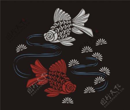 传统刺绣金鱼矢量图下载