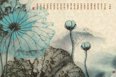 新中式水墨抽象荷花立体背景墙