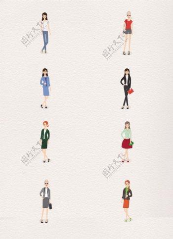 卡通摆poss拍照的时尚女性