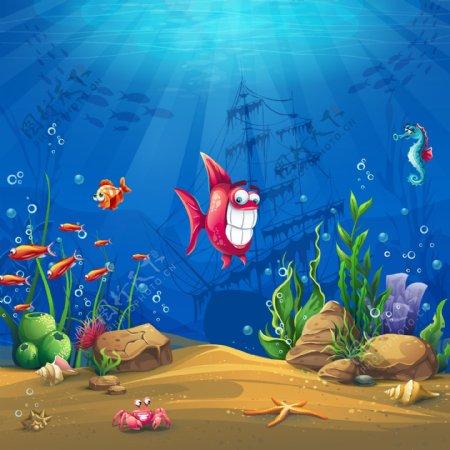 蓝色海底世界小鱼儿