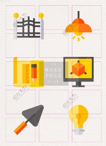 简洁建筑施工元素图标icon设计