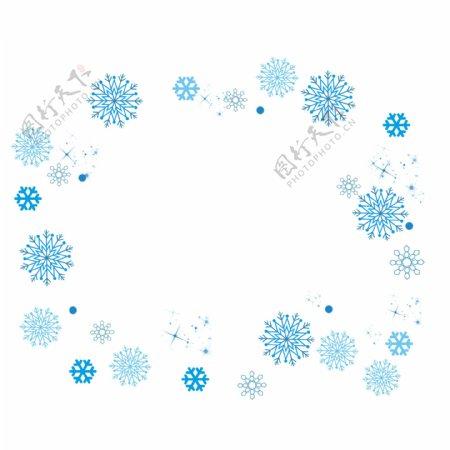 装饰冬天手绘飘雪蓝色雪花冬季下雪浪漫