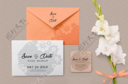 婚礼信封卡片样机模板