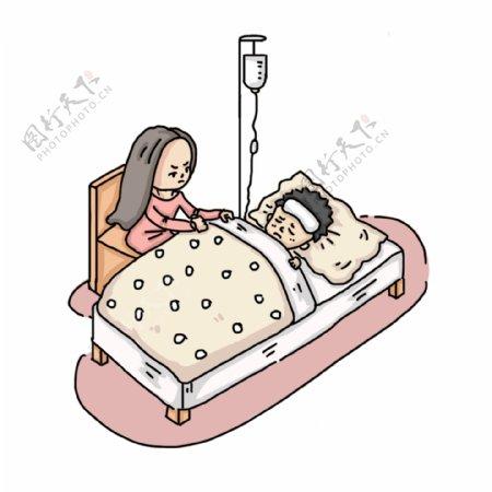 卡通手绘妈妈照顾生病的儿子