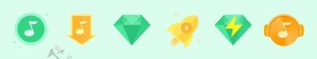 小清新扁平化绿色图标设计模板