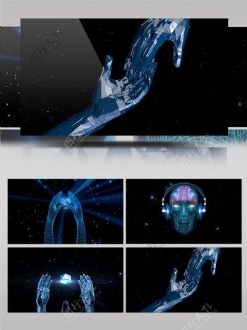 4款虚拟人物3D科技VJ场景光效射线手部模型循环变幻背景视频素材