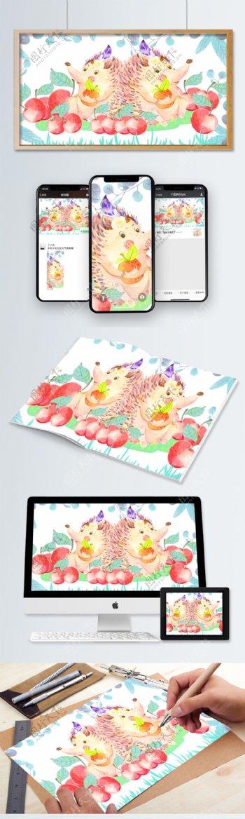 原创绘画儿童绘本水彩可爱的小动物刺猬趴