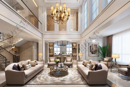 欧式别墅客厅3D模型效果图