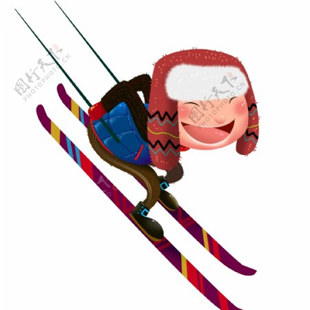 开心玩雪的男人手绘设计