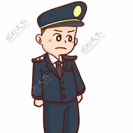 卡通很生气的警察插画人物