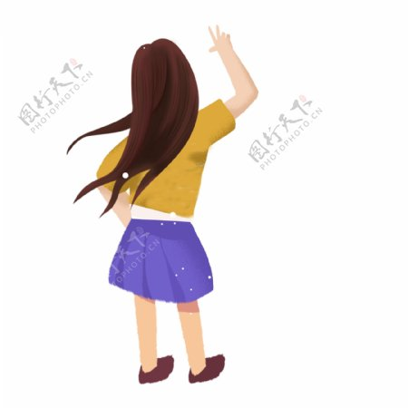 卡通可爱拍照摆poss的女孩背影设计