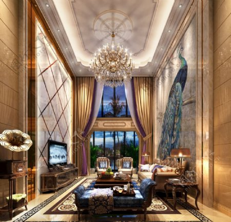 欧式别墅奢华客厅效果图3D模型