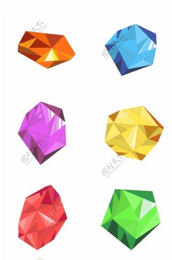 钻石彩色宝石红蓝宝石水晶切割彩钻免扣合集