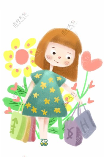 女孩购买各种商品插画
