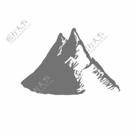 水彩壮丽高大山峰