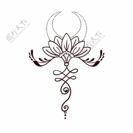 欧美纹身手稿手绘莲花图案