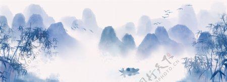 浅色中国风复古山水竹叶banner背景