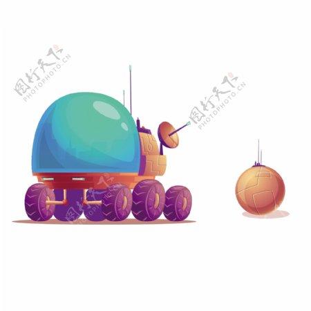 卡通UFO雷达导弹矢量素材