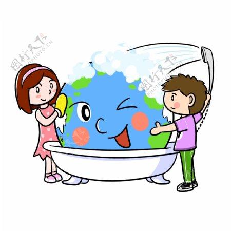 卡通世界地球日清洗地球png透明底