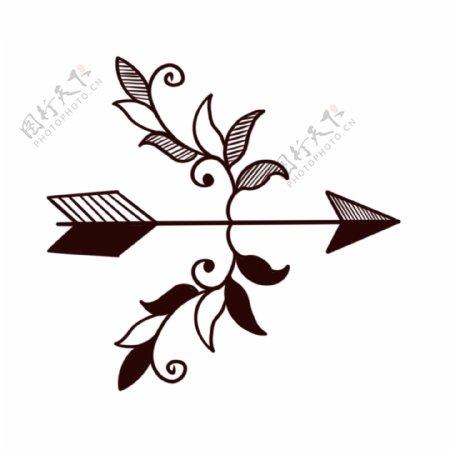 欧美纹身手稿手绘弓箭花纹