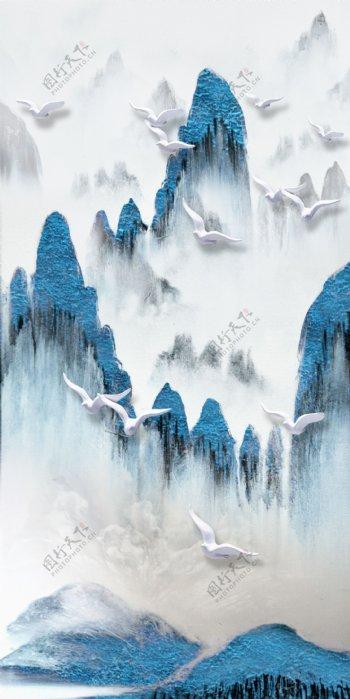 抽象水墨山水海鸥白色鸟