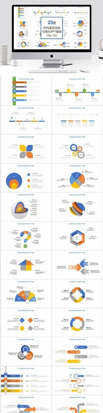 25页并列递进信息可视化PPT图表