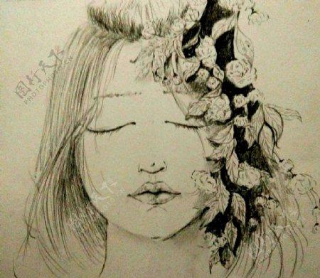 绘画动漫美女拟人
