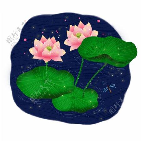 立夏手绘卡通唯美荷花植物蜻蜓花卉