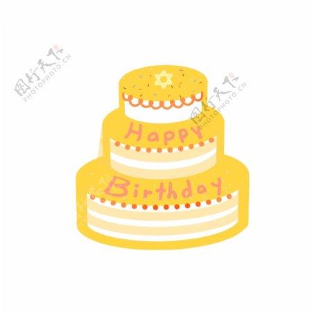 巧克力生日蛋糕六芒星纹理边框手绘风