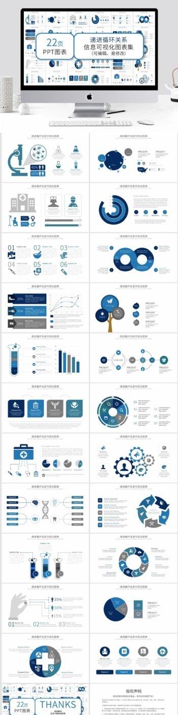 医疗图标递进循环信息可视化PPT图表