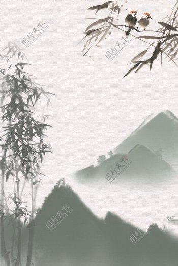 中国风淡雅竹子背景素材