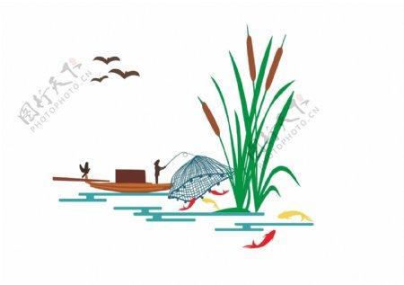 捕鱼矢量图