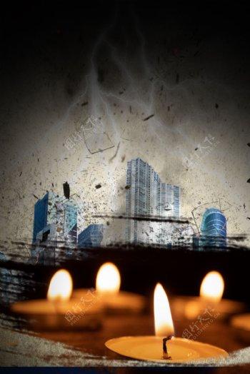 自然灾害地震悲壮蜡烛祈祷背景