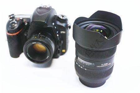 单反相机与广角镜头高清素材纯白简洁背景