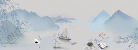 中国古代仙鹤船只banner背景图