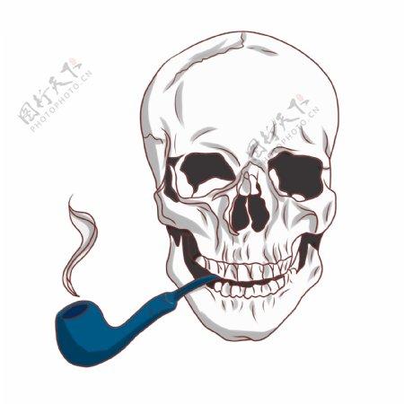 抽烟斗的卡通骷髅