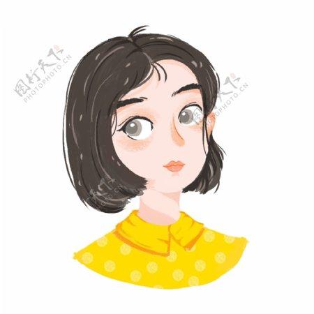 清新可爱短发黄色波点衬衣女孩头像手绘元素