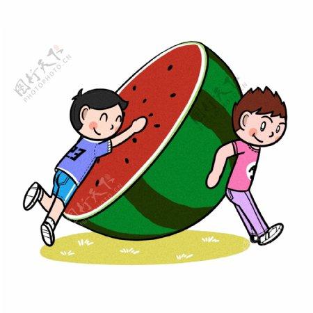 卡通儿童夏天和半个西瓜png透明底