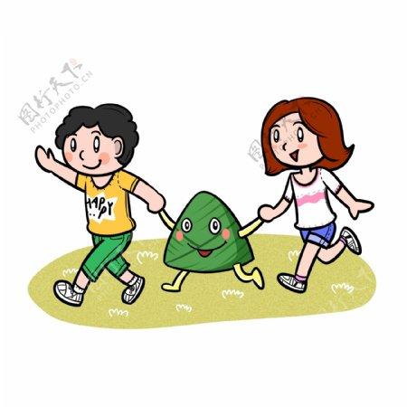 卡通端午节儿童和粽子png透明底