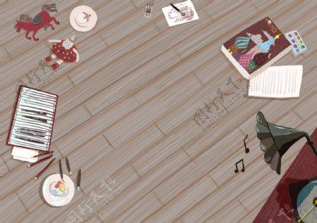 温馨居家儿童画画背景设计