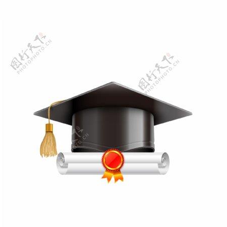 毕业季学士帽毕业证书元素设计