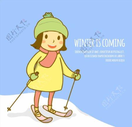 可爱滑雪的短发女孩