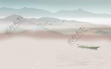 新中式抽象水墨山水背景墙