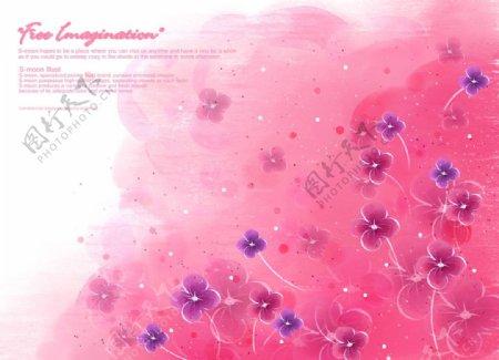 手绘水彩笔刷风桃红色小清新浪漫