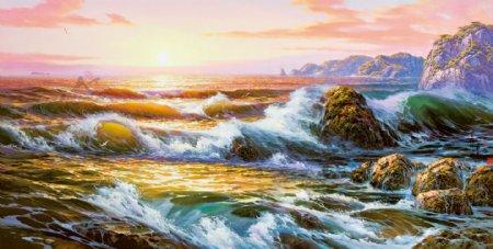 油画海水浪潮