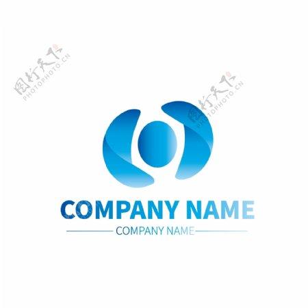 金属材质公司企业蓝色形状商标LOGO标示