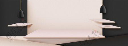 高档黑色大气欧式家具立体展台背景素材