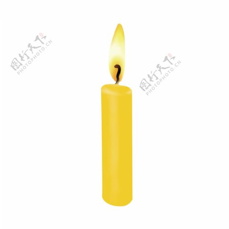 简约黄色祈福蜡烛GIF元素